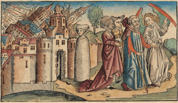 Sodom and Gomorrah from the Nuremberg Chronicle by Hartmann Schedel, 1493. Lot's wife, already transformed into a salt pillar, is in the center.