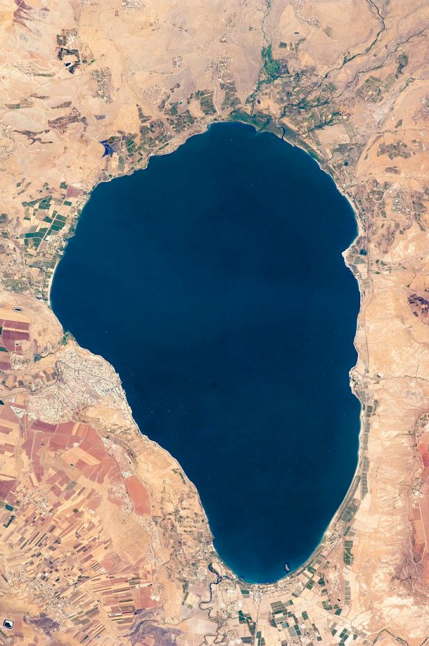 View of the Sea of Galilee from space. This image was taken by the NASA Expedition 20 crew. - NASA Earth Observatory