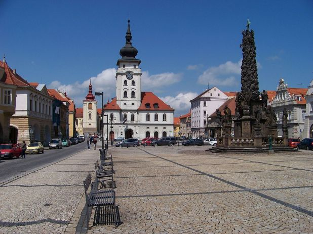 Zatec Main square with town hall and trinity column Photo:ŠJů