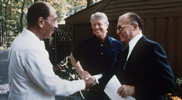 Menachem Begin, Jimmy Carter and Anwar Sadat at Camp David, 1978