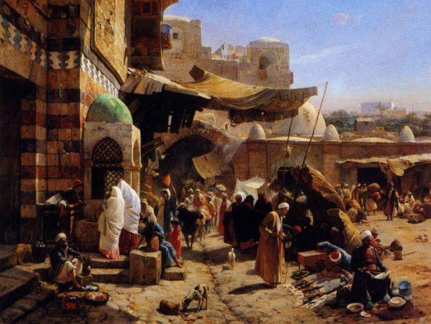 Market Jaffa painting by Gustav Bauernfeind 1887