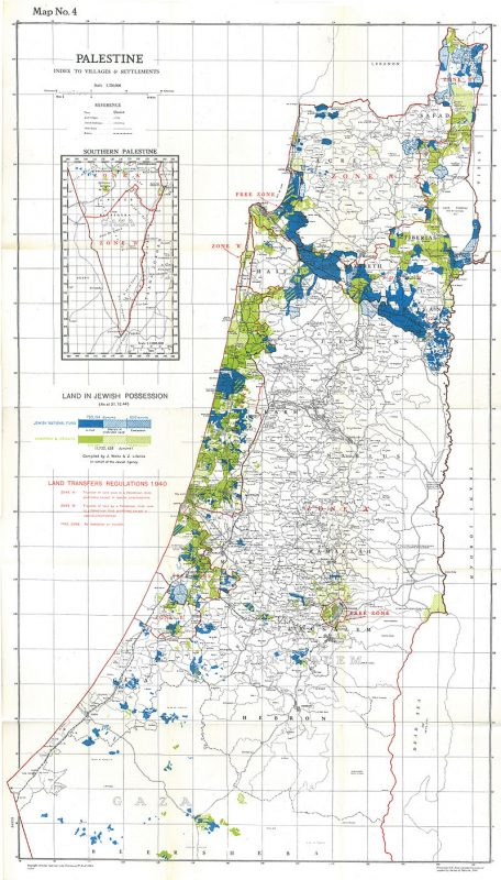 Map showing Jewish-owned land as of 31 December 1944, including land owned in full, shared in undivided land and State Lands under concession. This constituted 6% of the total land area or 20% of cultivative land,[37] of which more than half was held by the JNF and PICA Public domain