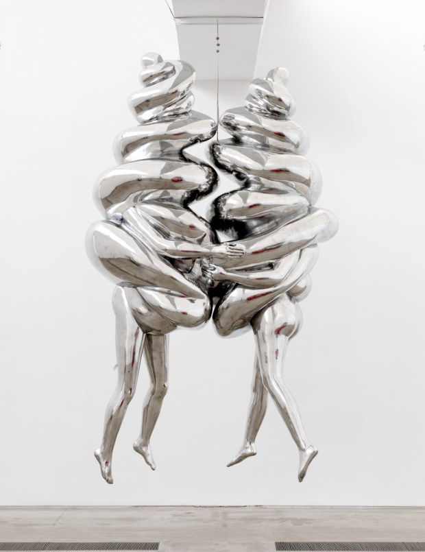 Louise Bourgeois THE COUPLE, 2003 Aluminum, hanging piece 365.1 x 200 x 109.9 cm. Collection The Easton Foundation Photo: Christopher Burke, (c) The Easton Foundation/Licensed by VAGA, NY