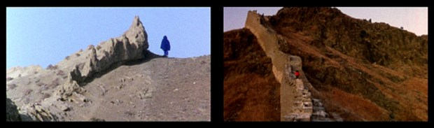 MARINA ABRAMOVIC and ULAY.The Lovers, The Great Wall Walk. Two-channel video (color). 1988/2010. 16:45 minutes. Based on the 1988 performance. 90 Days, the Great Wall of China. Image Courtesy of the Marina Abramovic Archives and Murray Grigor