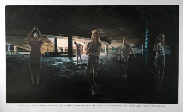 "Muntean/Rosenblum, Untitled (""The earth is literally a mirror…""), 2019, oil and chalk on canvas, 290×480, courtesy of Kulturzentrum bei den Minoriten, Graz, Austria"