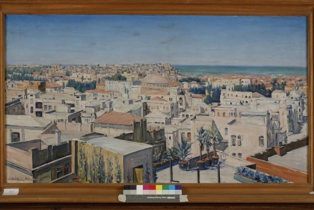 Tel Aviv, View toward Jaffa, 1927, Oil on canvas, 60X107 cm. The Estate of Ludwig Blum