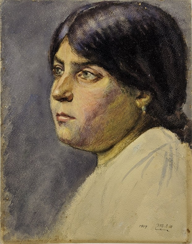 אהרֹן שאול שוּר, דיוקן אישה, 1916. Aharon Shaul Schur Portrait of a Woman, 1916 Tempera on paper, 29.5x22.5 cm Collection of the Schur family, Herzliya