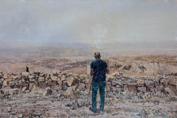 אלי שמר דיוקן עצמי בהר נבו 2019 שמן על בד אוסף האמן צלום הדר סייפן