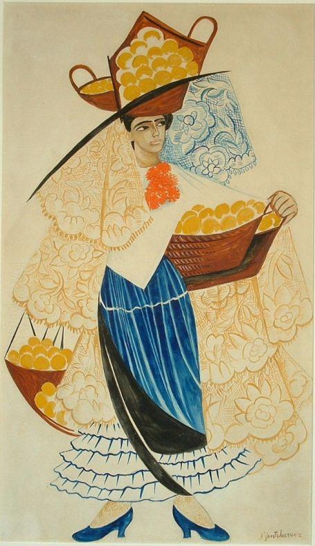 1. Наталия Гончарова (1881–1962). Продавщица апельсинов. 1916. Эскиз костюма к проекту испанских балетов. Бумага, гуашь, карандаш