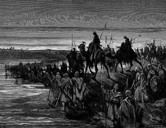 Joshua and the Israelites crossing into Israel
