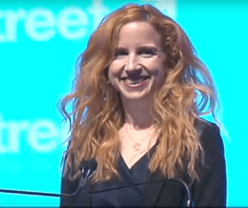Stav Shaffir talking at J Street pro-peace conference 2015.