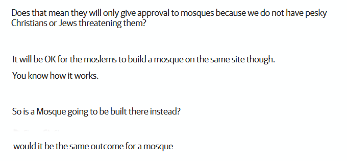 comments about sydney synagogue rejected but mosque would be accepted