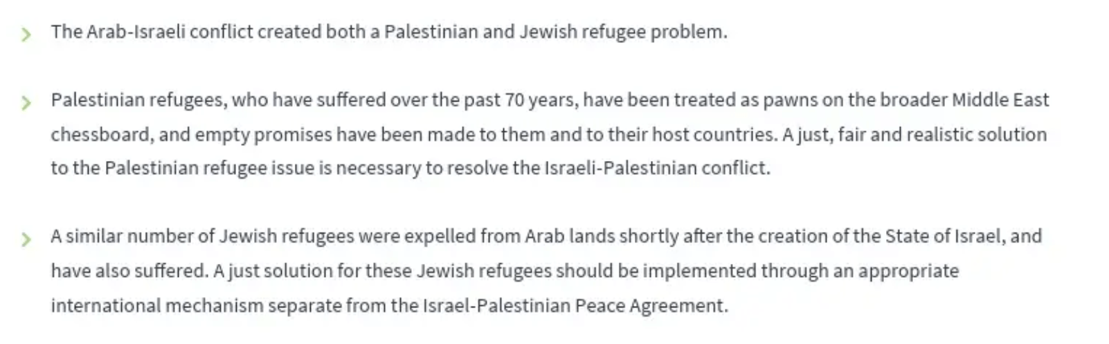About the treatment of Jewish and Arab refugees