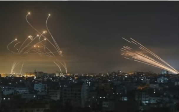 Image showing both missiles from Gaza and Iron Dome launches
