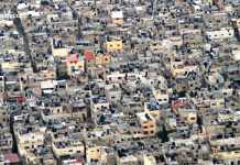 crowded housing in refugee camp in Nablus