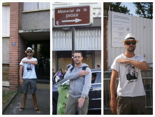 Nazi quenelle salute in front of the home of Mohamed Merah, sign for the Holocaust Memorial in Paris and the Ozar HaTorah school in Toulouse. - Photo Credit: jssnews.com