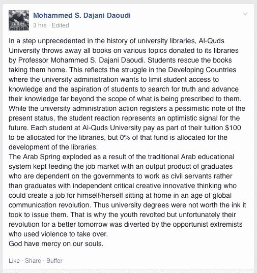 Mohammed S. Dajani Daoudi book throwing screenshot