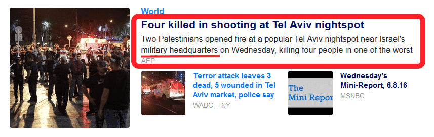 yahoo report misleading - tel aviv terror attack