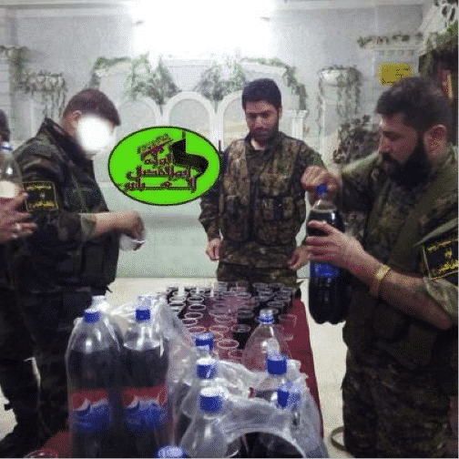 Abu 'Ajeeb and other LAFA militants drinking Pepsi