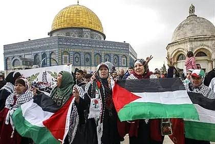 Manifestantes árabes en el Monte del Templo (archivo)