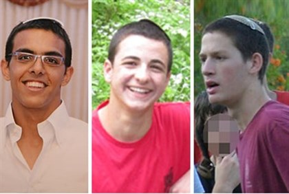 Eyal Yifrah, Gil-ad Shayer and Naftali Frenkel, murdered by terrorists