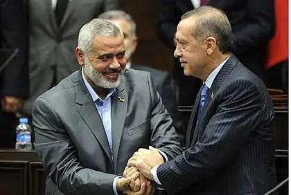 Hamas' Ismail Haniyeh and Recep Tayyip Erdogan