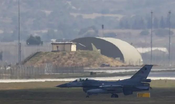 F-16 fighter jet lands at Incirlik air base