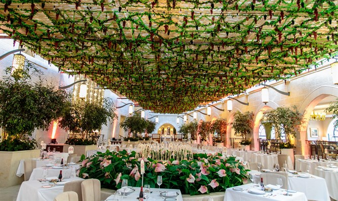 A very-well decorated Sukkah at the Waldorf Astoria hotel in Jerusalem