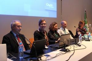 De g. à d. : Hezi Himelfarb (IceCure), Tania Rémy Hamili (Given Imaging), Revital Rattenbach (Pharmaseed), Tal Shahar (The Sockee), Muriel Touaty (Technion)