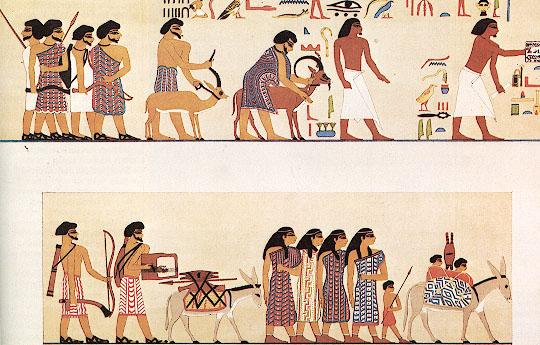 На росписи изображена группа семитов, пришедших в Египет (Гробница Ханумхотепа, 19 в. до н. э.) | NebMaatRa, Википедия