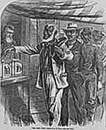 Contemporary print of first Black vote in U.S.; from Library of Congress