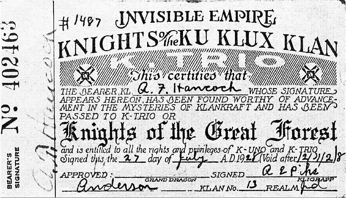 1928 KKK Membership ID
