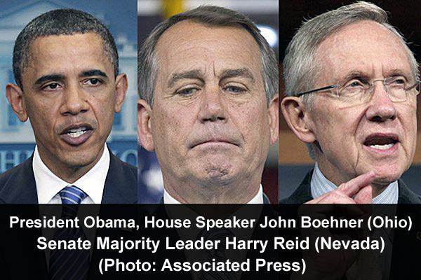 President Barack Hussein Obama II, House Speaker John Boehner and Senate Majority Leader Harry Reid