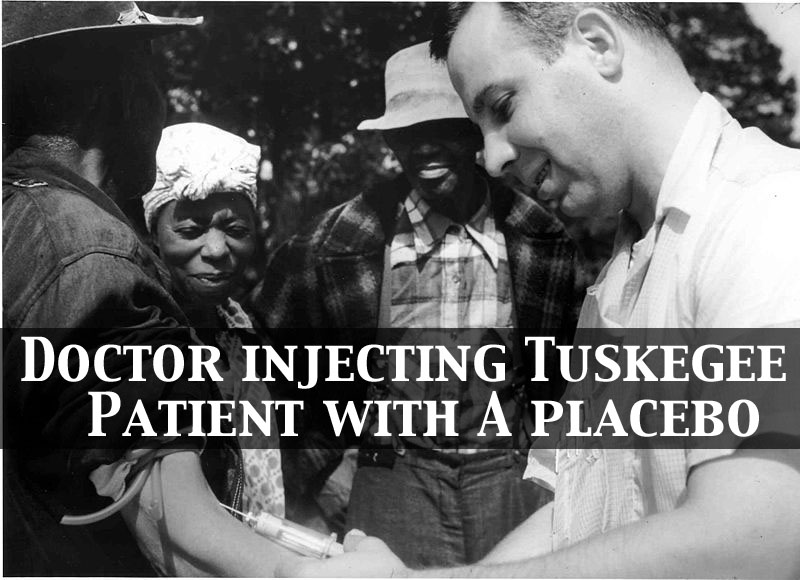 Doctor injecting a patient with placebo as part of the Tuskegee Syphilis Study