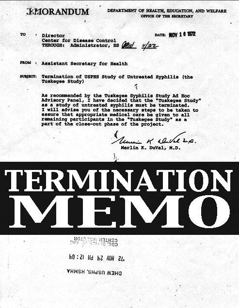Tuskegee Termination Memo from the Department Of Health, Education, And Welfare Office Of The Secretary