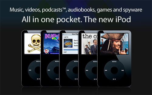 Music, videos, podcasts(TM), audiobooks, games and spyware. All in one pocket. The new iPod.