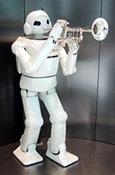 Robot blowing trump