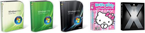 Windows Vista boxes + Hello Kitty Bubblegum Girlfriends + Mac OS X Tiger