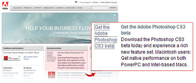 Adobe Photoshop CS3 beta