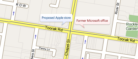 Proposed Apple store and former Microsoft office