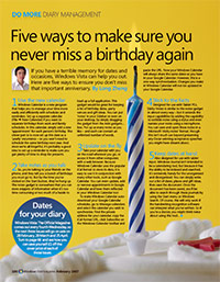 "Official Windows Vista Magazine - ""Five ways to make sure you never miss a birthday again"""