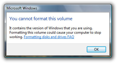 Windows Vista format C: drive