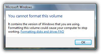 Windows Vista format C: drive