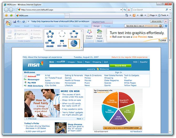 MSN.com PowerPoint 2007 ad