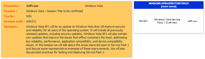 TechEd SEA Windows Vista SP1 session