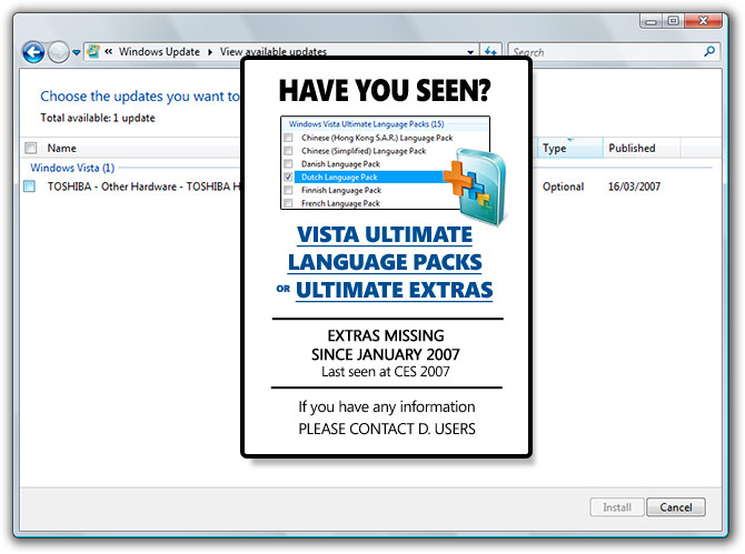 "Vista Ultimate Extras Language Packs Missing - ""Have you seen"""