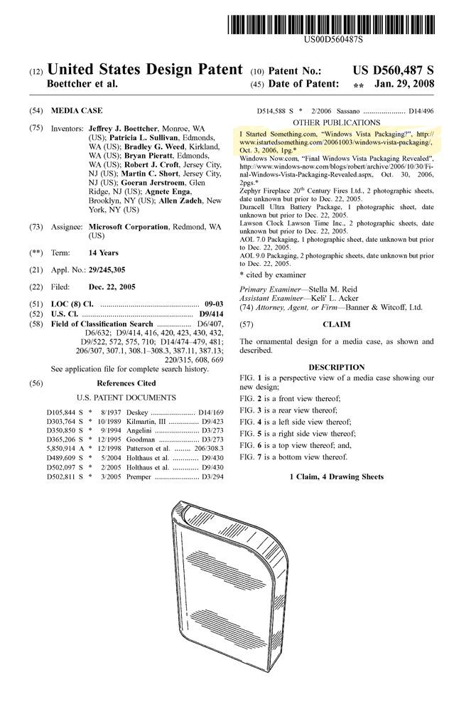 US patent D560,487