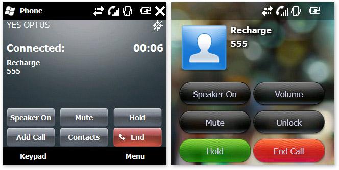 Windows Mobile 6.5 call screen