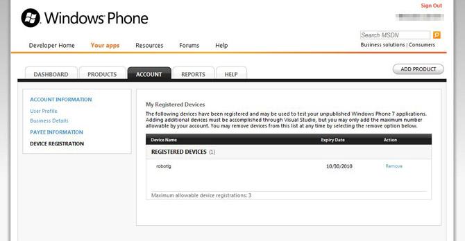 Windows Phone 7 developer phone unlock