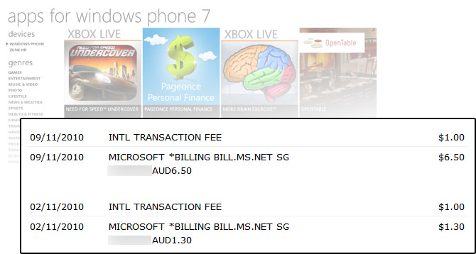 Australians Hit With International Transaction Fees For Windows Phone 7 App Purchases Updated